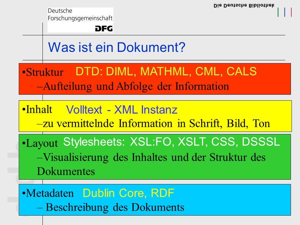Vorteile von XML Auszeichnung der Inhalte (Struktur), nicht der Erscheinungsform (Layout) Unabhängigkeit der Daten von Formaten maschinell verarbeitbare Daten (Geschwindigkeit) Maschinell prüfbare Daten (Qualität) Datenaustausch (SOAP, OAI, EDI) unterschiedliche Anwendungen aus einer Quelle
