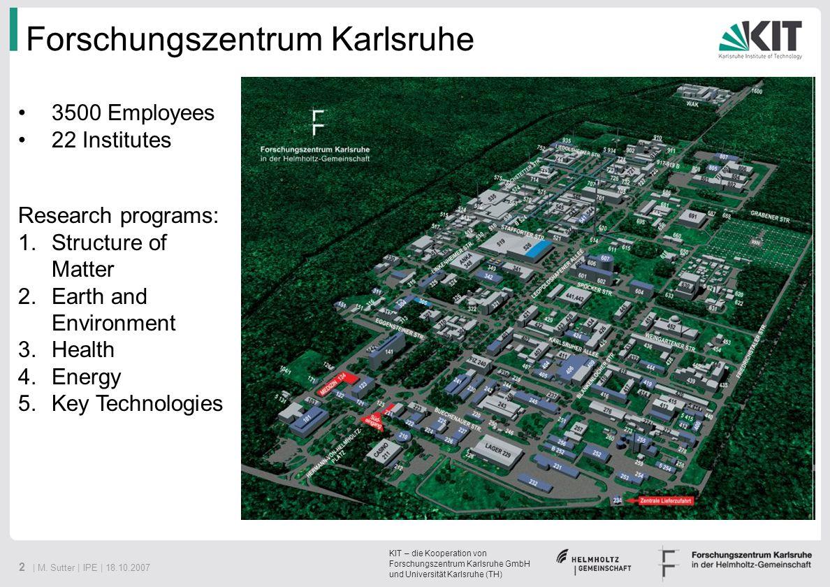 KIT – die Kooperation von Forschungszentrum Karlsruhe GmbH und Universität Karlsruhe (TH) 2 | M. Sutter | IPE | 18.10.2007 Forschungszentrum Karlsruhe
