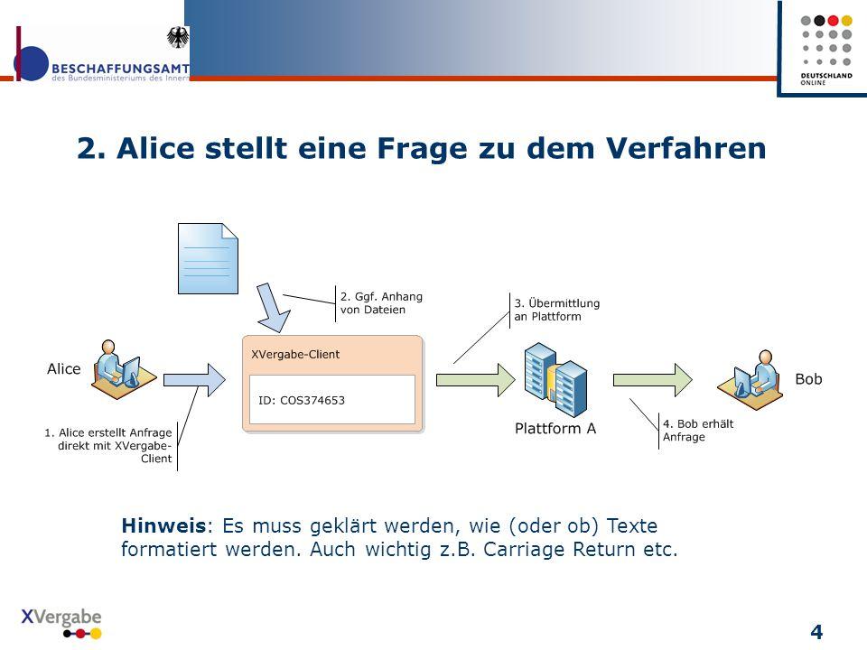 2. Alice stellt eine Frage zu dem Verfahren 4 Hinweis: Es muss geklärt werden, wie (oder ob) Texte formatiert werden. Auch wichtig z.B. Carriage Retur