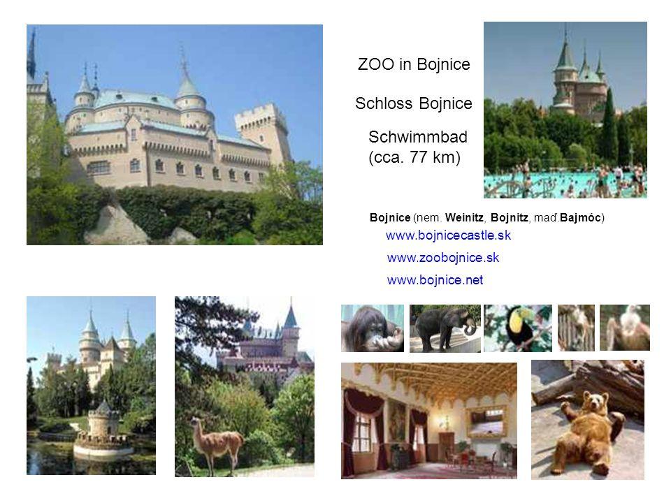ZOO in Bojnice Schwimmbad (cca. 77 km) Schloss Bojnice Bojnice (nem. Weinitz, Bojnitz, maď.Bajmóc) www.bojnicecastle.sk www.zoobojnice.sk www.bojnice.