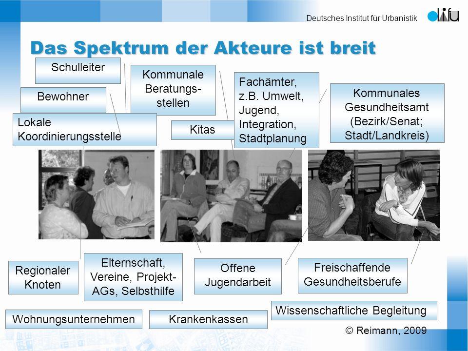 Deutsches Institut für Urbanistik Das Spektrum der Akteure ist breit Schulleiter Elternschaft, Vereine, Projekt- AGs, Selbsthilfe Offene Jugendarbeit