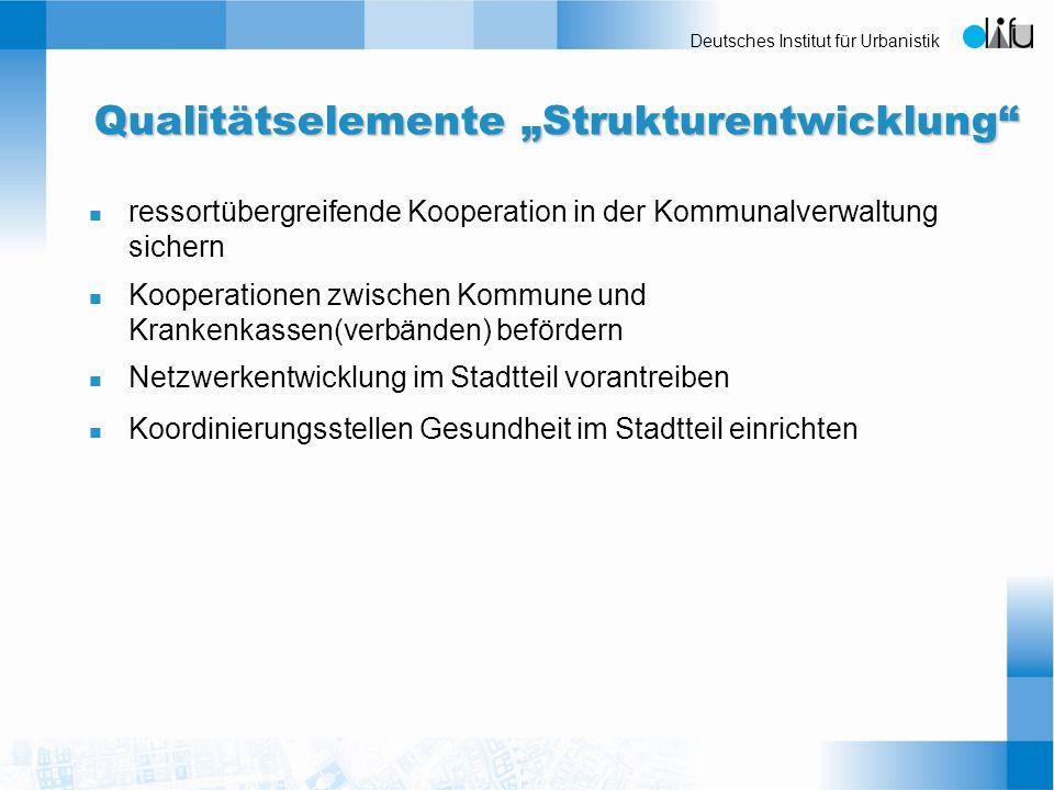 Deutsches Institut für Urbanistik Qualitätselemente Strukturentwicklung n ressortübergreifende Kooperation in der Kommunalverwaltung sichern n Koopera