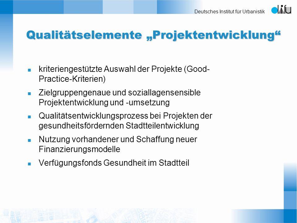 Deutsches Institut für Urbanistik Qualitätselemente Projektentwicklung n kriteriengestützte Auswahl der Projekte (Good- Practice-Kriterien) n Zielgrup