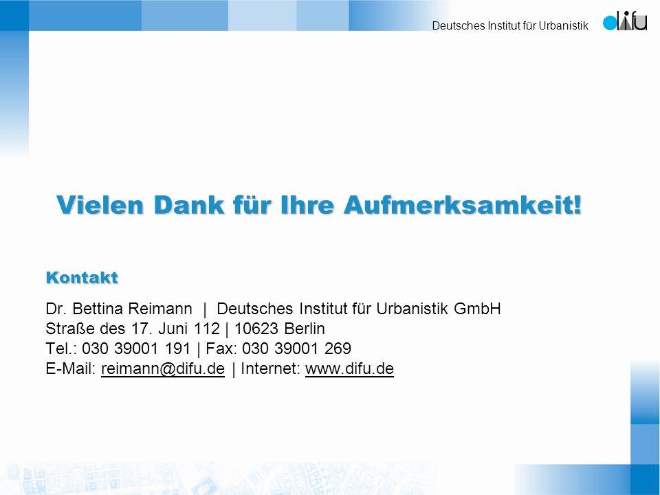 Deutsches Institut für Urbanistik Kontakt Dr. Bettina Reimann | Deutsches Institut für Urbanistik GmbH Straße des 17. Juni 112 | 10623 Berlin Tel.: 03