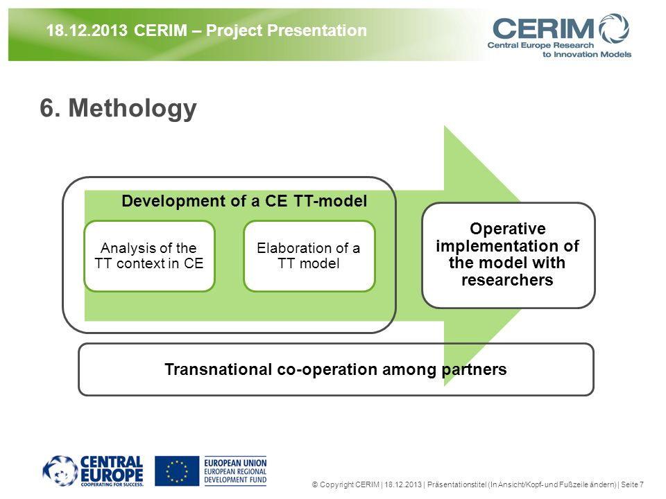 6. Methology Analysis of the TT context in CE Elaboration of a TT model Operative implementation of the model with researchers © Copyright CERIM | 18.