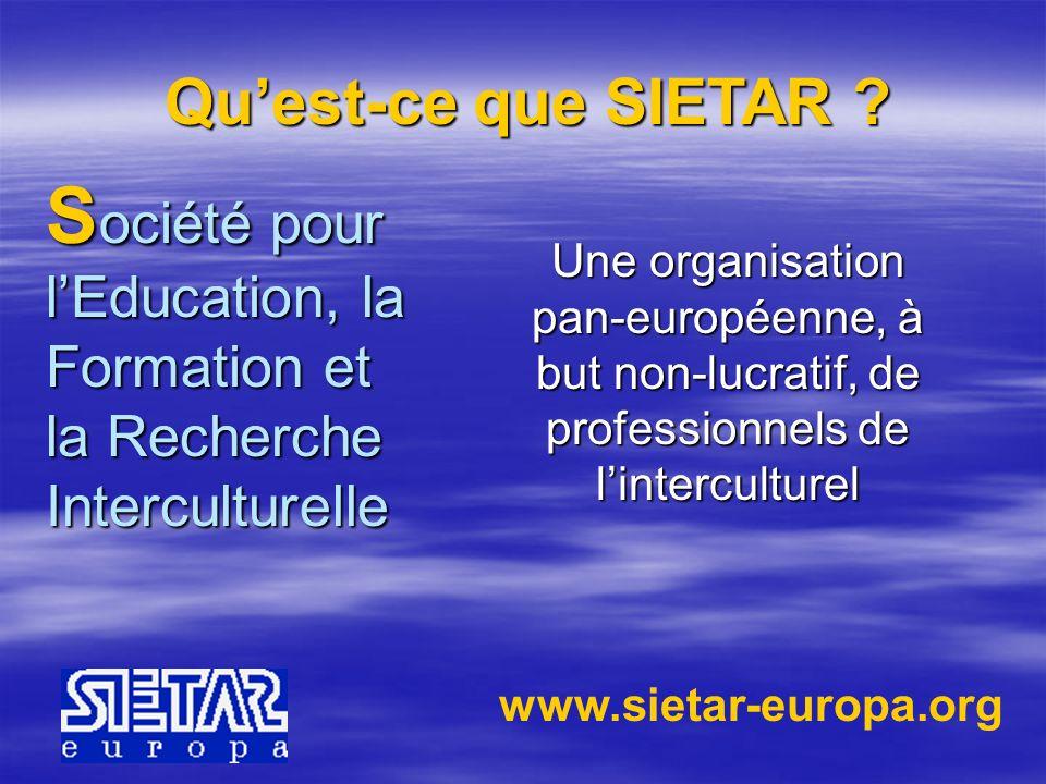 Gesellschaft für Interkulturelle Erziehung, Training und Forschung Eine Pan- Europäische, keinen- Profit-anstrebende Organisation, bestehend aus professionellen interkulturellen Mitgliedern Was ist SIETAR.