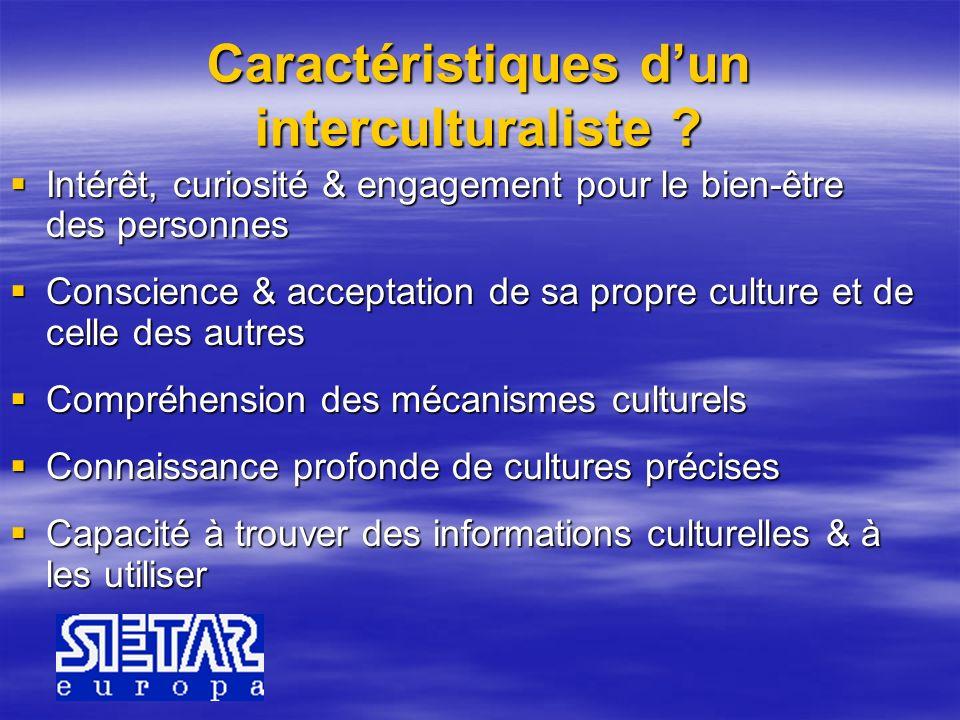 Caractéristiques dun interculturaliste ? Intérêt, curiosité & engagement pour le bien-être des personnes Intérêt, curiosité & engagement pour le bien-