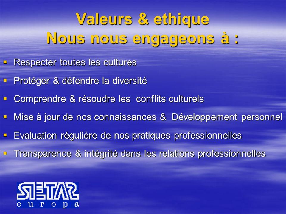 Valeurs & ethique Nous nous engageons à : Respecter toutes les cultures Respecter toutes les cultures Protéger & défendre la diversité Protéger & défe