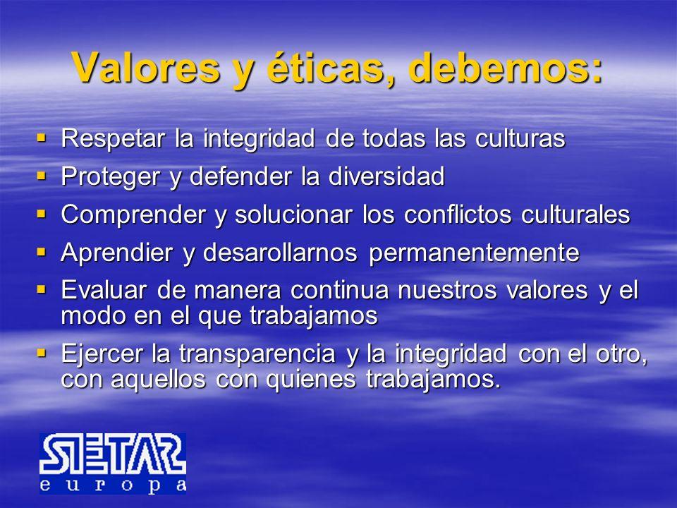 Valores y éticas, debemos: Respetar la integridad de todas las culturas Respetar la integridad de todas las culturas Proteger y defender la diversidad