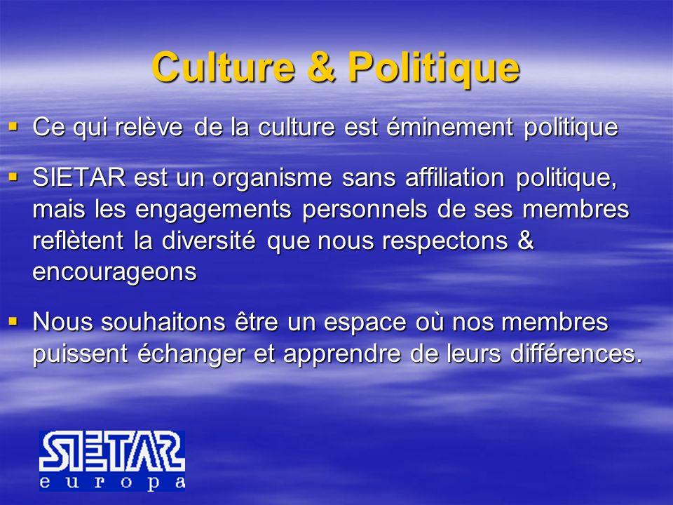 Culture & Politique Ce qui relève de la culture est éminement politique Ce qui relève de la culture est éminement politique SIETAR est un organisme sa