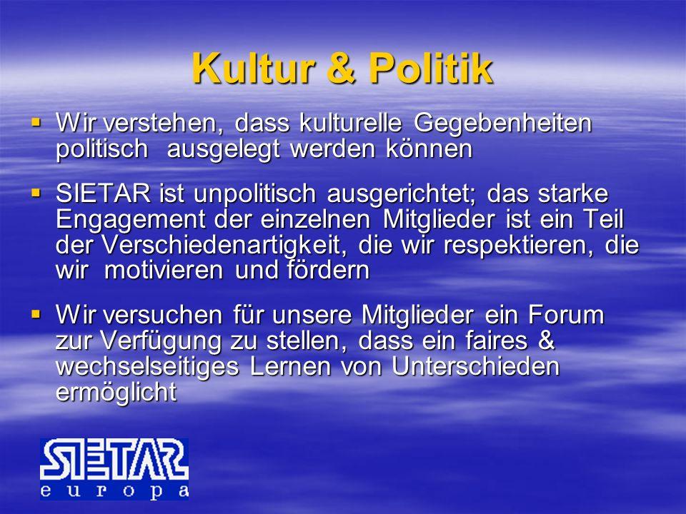 Kultur & Politik Wir verstehen, dass kulturelle Gegebenheiten politisch ausgelegt werden können Wir verstehen, dass kulturelle Gegebenheiten politisch