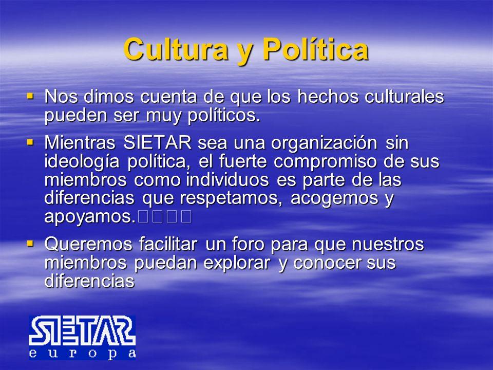 Cultura y Política Nos dimos cuenta de que los hechos culturales pueden ser muy políticos. Nos dimos cuenta de que los hechos culturales pueden ser mu