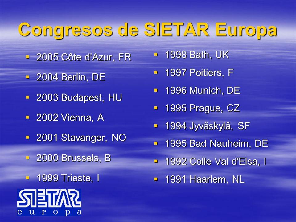 Congresos de SIETAR Europa 2005 Côte dAzur, FR 2005 Côte dAzur, FR 2004 Berlin, DE 2004 Berlin, DE 2003 Budapest, HU 2003 Budapest, HU 2002 Vienna, A