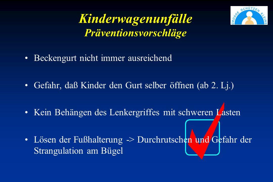 Kinderwagenunfälle Präventionsvorschläge Beckengurt nicht immer ausreichend Gefahr, daß Kinder den Gurt selber öffnen (ab 2.