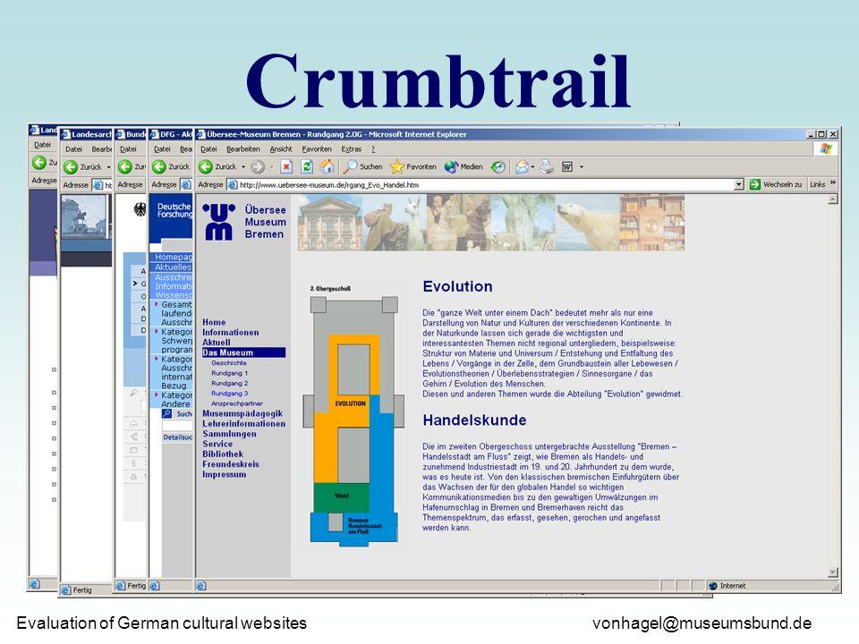vonhagel@museumsbund.de Evaluation of German cultural websites Crumbtrail