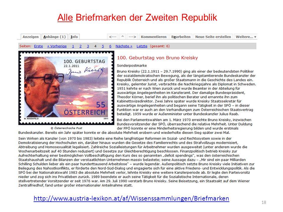 18 Alle Briefmarken der Zweiten Republik http://www.austria-lexikon.at/af/Wissenssammlungen/Briefmarken