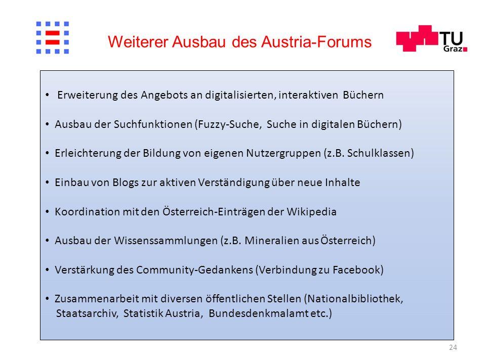 24 Weiterer Ausbau des Austria-Forums Erweiterung des Angebots an digitalisierten, interaktiven Büchern Ausbau der Suchfunktionen (Fuzzy-Suche, Suche