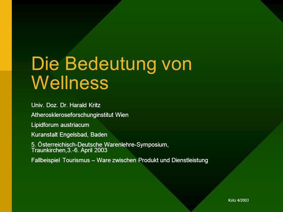 Kritz 4/2003 Die Bedeutung von Wellness Univ. Doz. Dr. Harald Kritz Atheroskleroseforschunginstitut Wien Lipidforum austriacum Kuranstalt Engelsbad, B