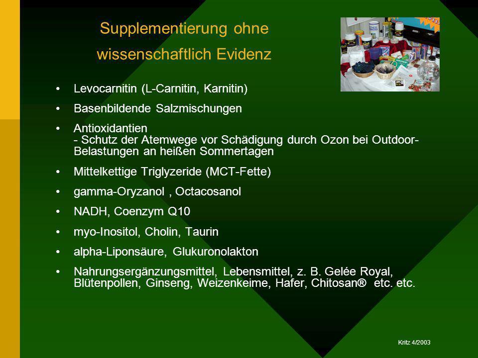 Kritz 4/2003 Supplementierung ohne wissenschaftlich Evidenz Levocarnitin (L-Carnitin, Karnitin) Basenbildende Salzmischungen Antioxidantien - Schutz d