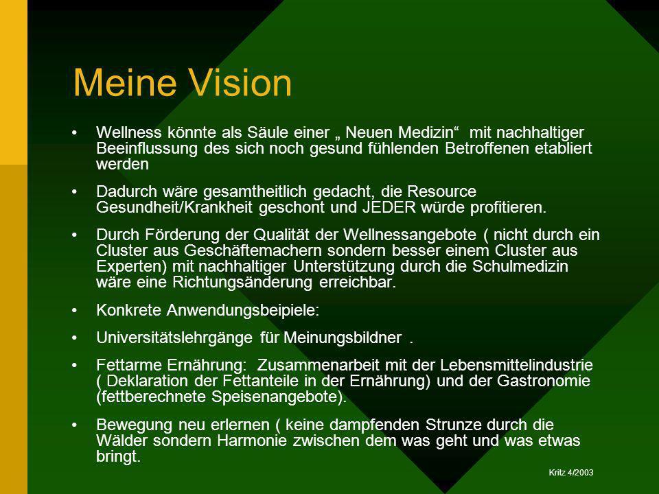 Kritz 4/2003 Meine Vision Wellness könnte als Säule einer Neuen Medizin mit nachhaltiger Beeinflussung des sich noch gesund fühlenden Betroffenen etab