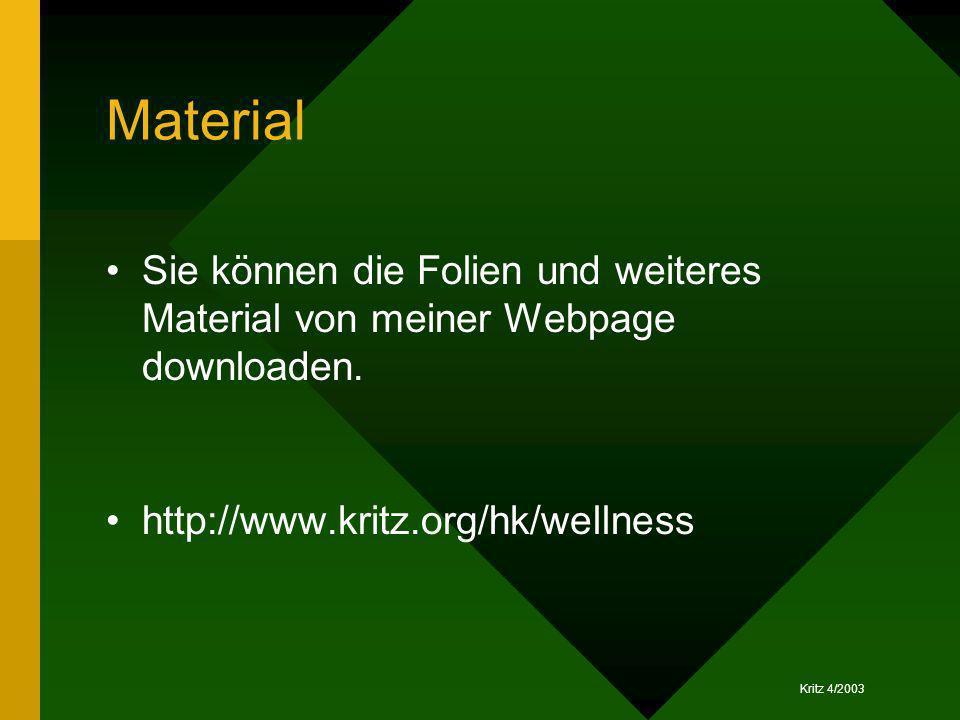 Material Sie können die Folien und weiteres Material von meiner Webpage downloaden. http://www.kritz.org/hk/wellness
