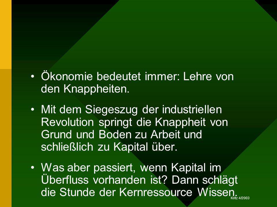 Kritz 4/2003 Ökonomie bedeutet immer: Lehre von den Knappheiten. Mit dem Siegeszug der industriellen Revolution springt die Knappheit von Grund und Bo