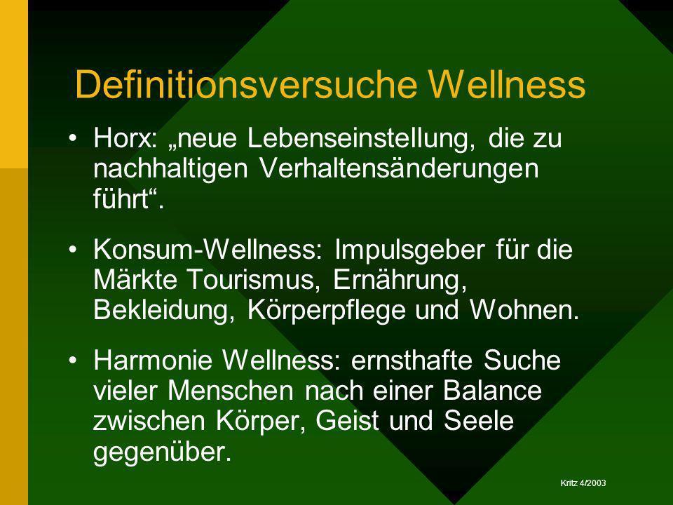 Kritz 4/2003 Definitionsversuche Wellness Horx: neue Lebenseinstellung, die zu nachhaltigen Verhaltensänderungen führt. Konsum-Wellness: Impulsgeber f
