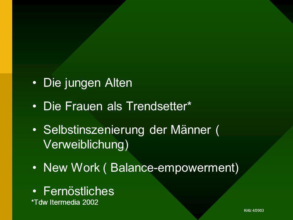Kritz 4/2003 Die jungen Alten Die Frauen als Trendsetter* Selbstinszenierung der Männer ( Verweiblichung) New Work ( Balance-empowerment) Fernöstliche