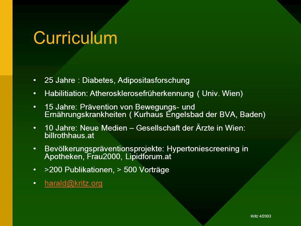 Kritz 4/2003 Curriculum 25 Jahre : Diabetes, Adipositasforschung Habilitiation: Atherosklerosefrüherkennung ( Univ. Wien) 15 Jahre: Prävention von Bew