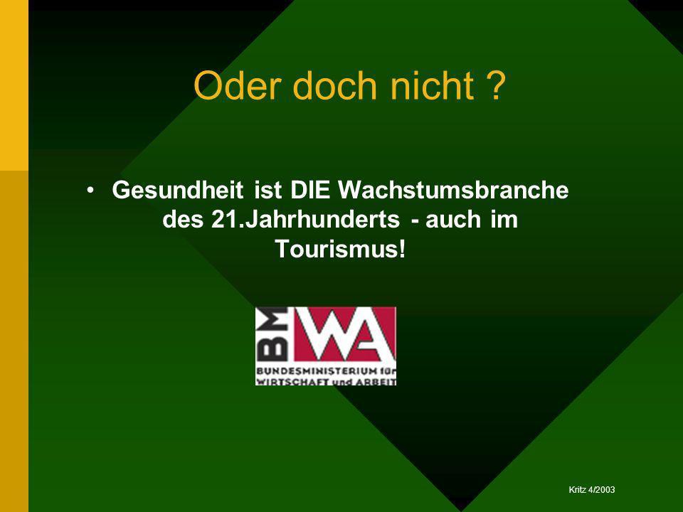 Kritz 4/2003 Oder doch nicht ? Gesundheit ist DIE Wachstumsbranche des 21.Jahrhunderts - auch im Tourismus!