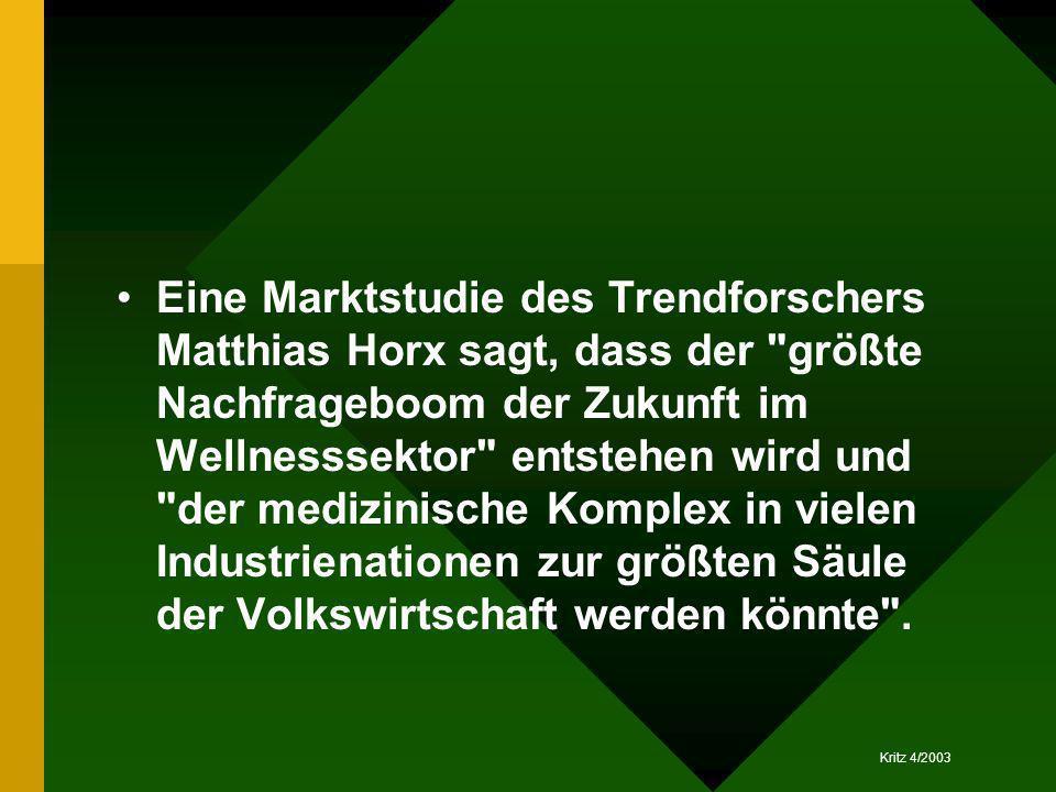 Kritz 4/2003 Eine Marktstudie des Trendforschers Matthias Horx sagt, dass der