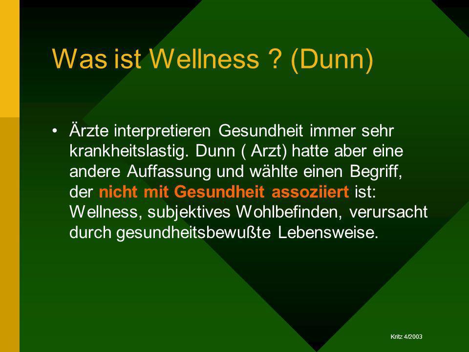 Kritz 4/2003 Was ist Wellness ? (Dunn) Ärzte interpretieren Gesundheit immer sehr krankheitslastig. Dunn ( Arzt) hatte aber eine andere Auffassung und
