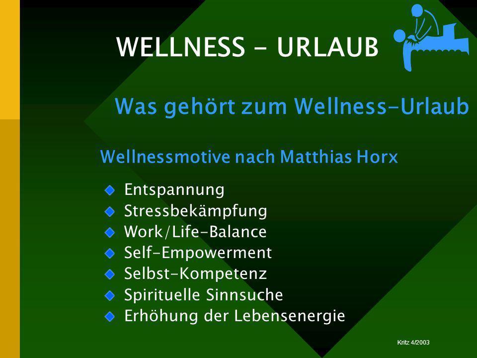 Kritz 4/2003 WELLNESS - URLAUB Was gehört zum Wellness-Urlaub Entspannung Stressbekämpfung Work/Life-Balance Self-Empowerment Selbst-Kompetenz Spiritu