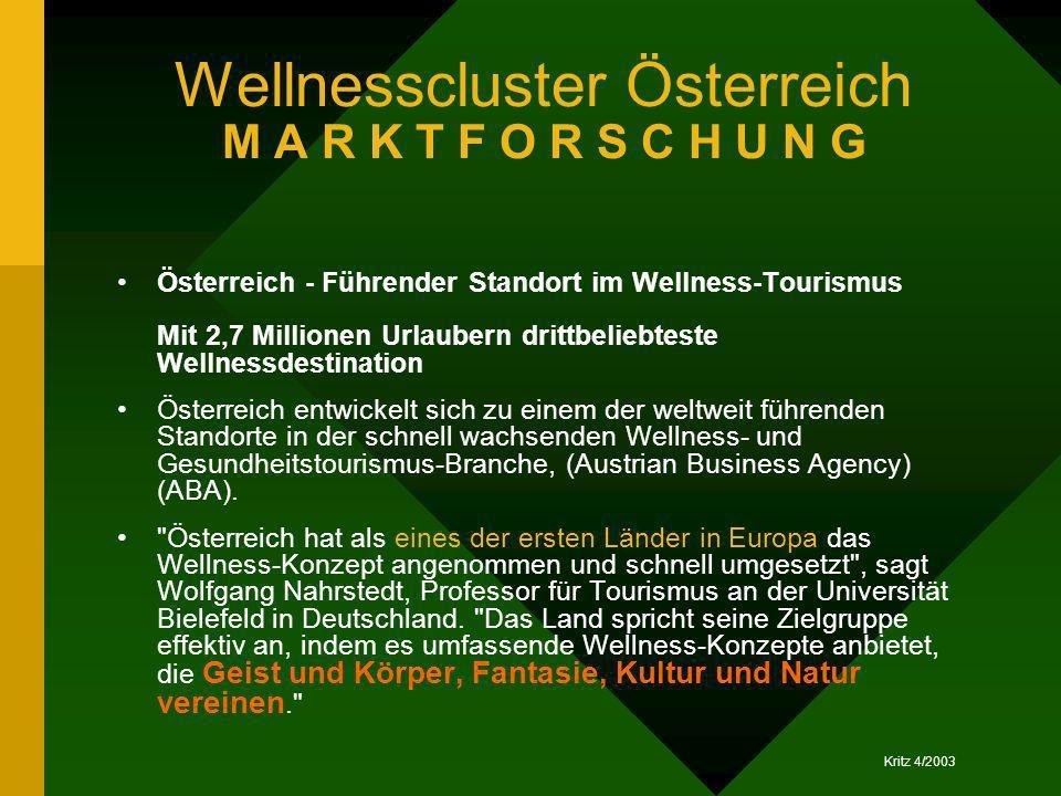 Kritz 4/2003 Wellnesscluster Österreich M A R K T F O R S C H U N G Österreich - Führender Standort im Wellness-Tourismus Mit 2,7 Millionen Urlaubern
