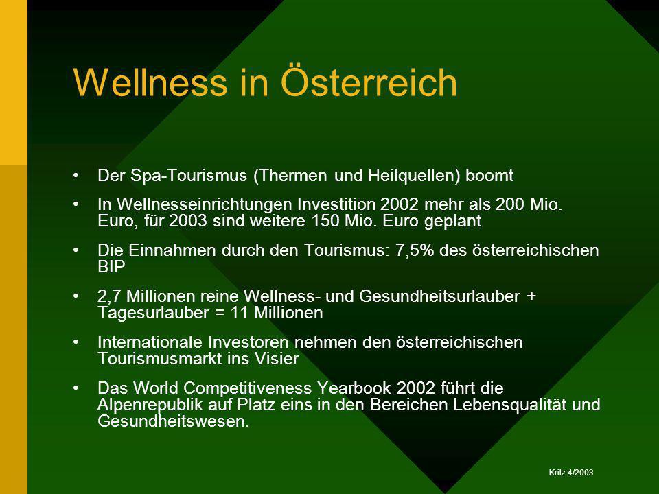 Kritz 4/2003 Wellness in Österreich Der Spa-Tourismus (Thermen und Heilquellen) boomt In Wellnesseinrichtungen Investition 2002 mehr als 200 Mio. Euro
