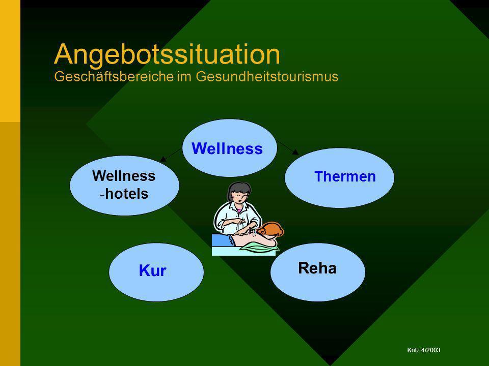 Angebotssituation Geschäftsbereiche im Gesundheitstourismus Kur Wellness Reha Thermen Wellness -hotels