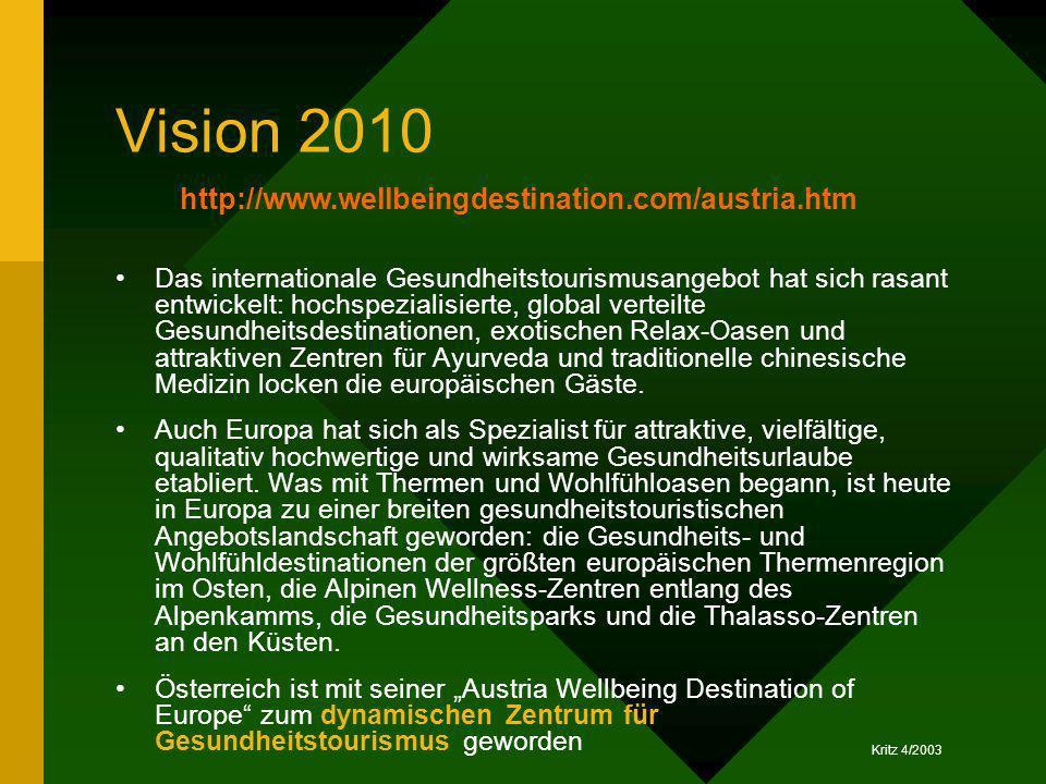 Kritz 4/2003 Vision 2010 Das internationale Gesundheitstourismusangebot hat sich rasant entwickelt: hochspezialisierte, global verteilte Gesundheitsde