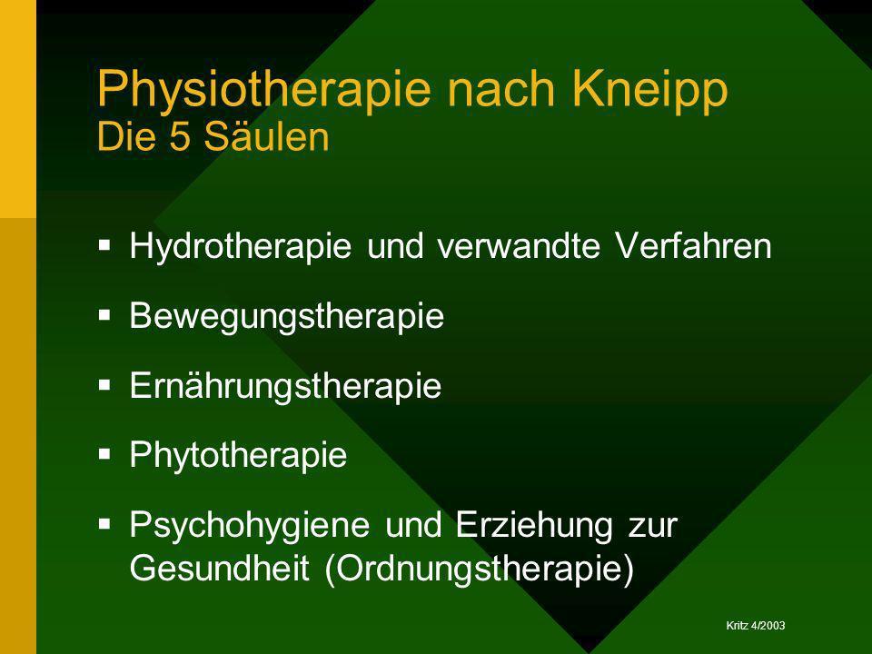 Kritz 4/2003 Physiotherapie nach Kneipp Die 5 Säulen Hydrotherapie und verwandte Verfahren Bewegungstherapie Ernährungstherapie Phytotherapie Psychohy