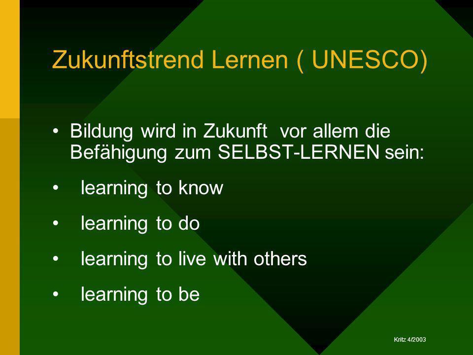 Kritz 4/2003 Zukunftstrend Lernen ( UNESCO) Bildung wird in Zukunft vor allem die Befähigung zum SELBST-LERNEN sein: learning to know learning to do l