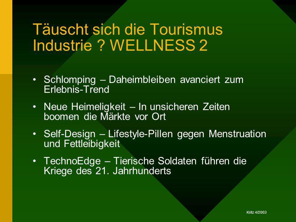 Kritz 4/2003 Täuscht sich die Tourismus Industrie ? WELLNESS 2 Schlomping – Daheimbleiben avanciert zum Erlebnis-Trend Neue Heimeligkeit – In unsicher