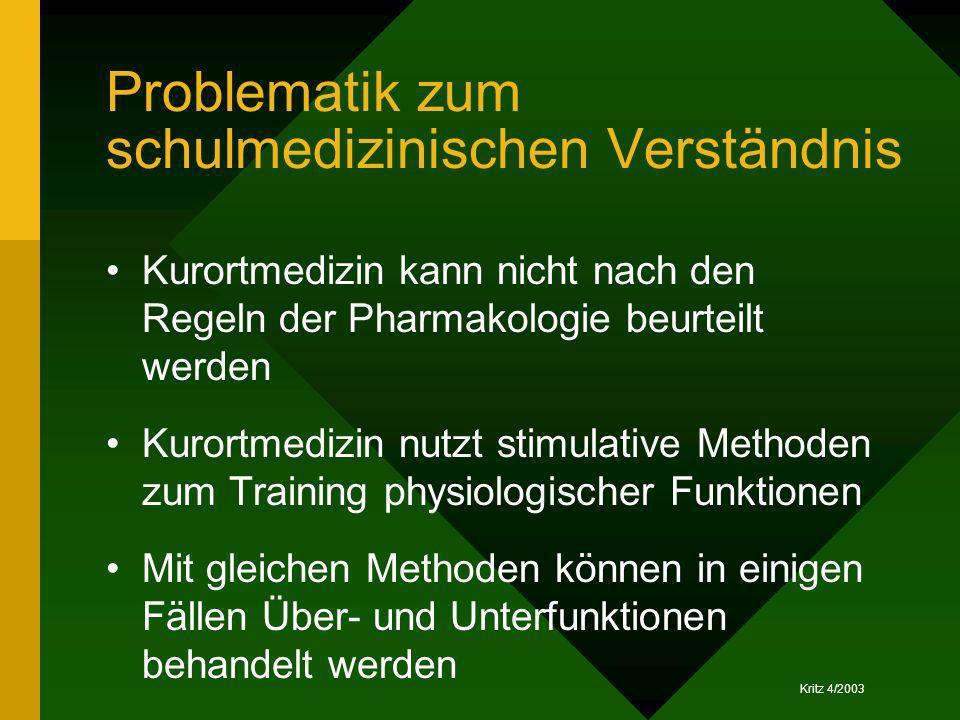 Problematik zum schulmedizinischen Verständnis Kurortmedizin kann nicht nach den Regeln der Pharmakologie beurteilt werden Kurortmedizin nutzt stimula