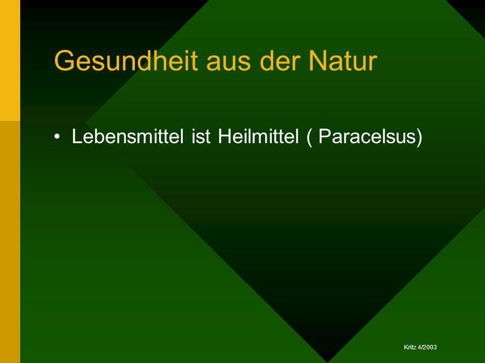 Kritz 4/2003 Gesundheit aus der Natur Lebensmittel ist Heilmittel ( Paracelsus)