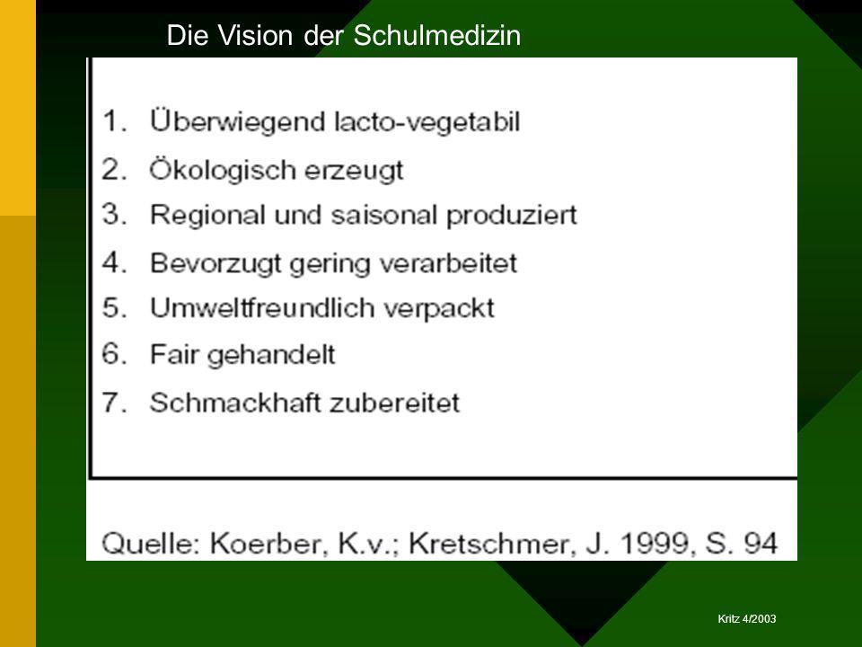 Kritz 4/2003 Die Vision der Schulmedizin