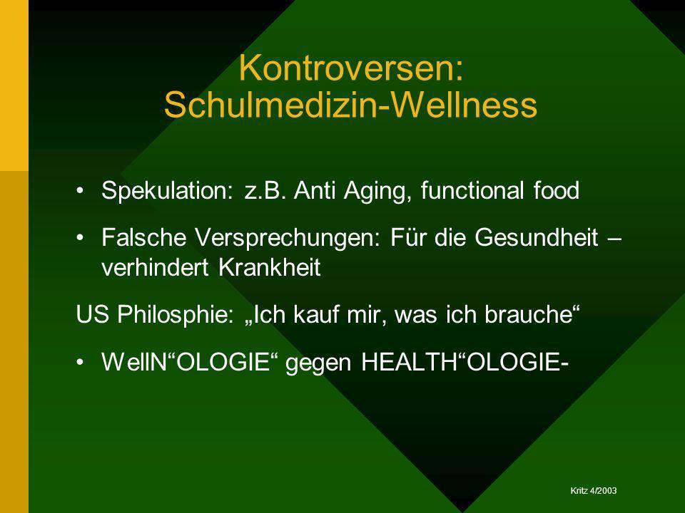 Kritz 4/2003 Kontroversen: Schulmedizin-Wellness Spekulation: z.B. Anti Aging, functional food Falsche Versprechungen: Für die Gesundheit – verhindert