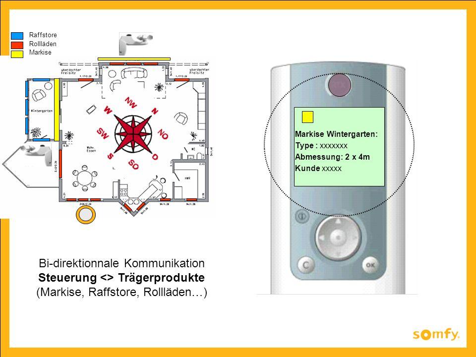 Raffstore Rollläden Markise Markise Wintergarten: Type : xxxxxxx Abmessung: 2 x 4m Kunde xxxxx Bi-direktionnale Kommunikation Steuerung <> Trägerprodu