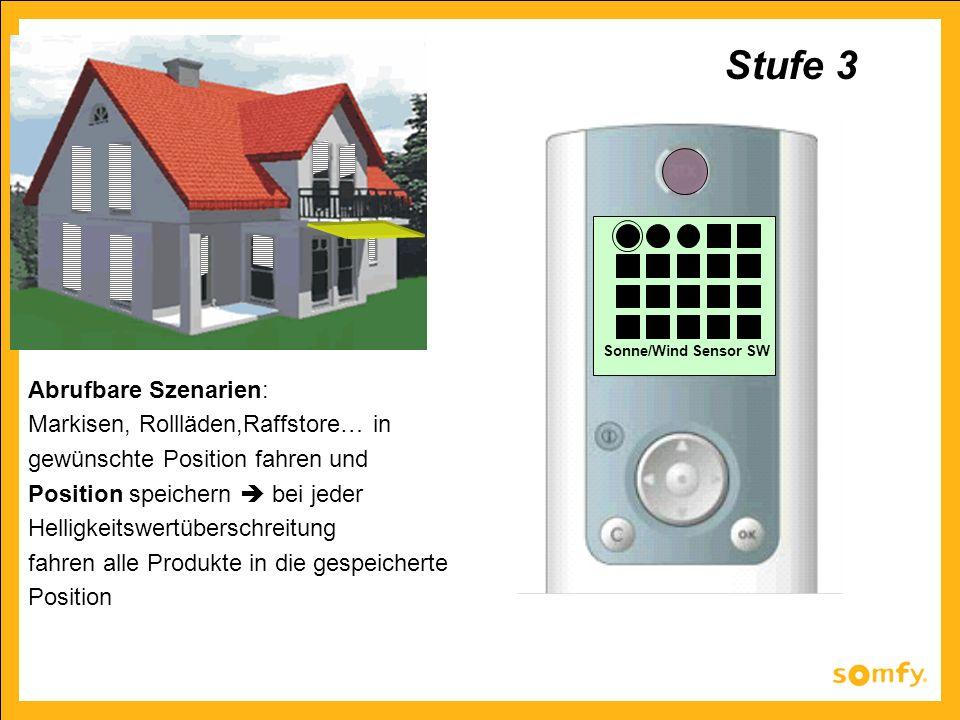Sonne/Wind Sensor SW Abrufbare Szenarien: Markisen, Rollläden,Raffstore… in gewünschte Position fahren und Position speichern bei jeder Helligkeitswer