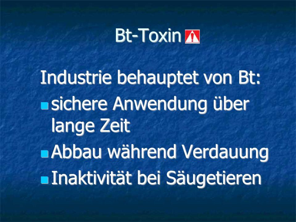 Bt-Toxin Industrie behauptet von Bt: sichere Anwendung über lange Zeit sichere Anwendung über lange Zeit Abbau während Verdauung Abbau während Verdauu
