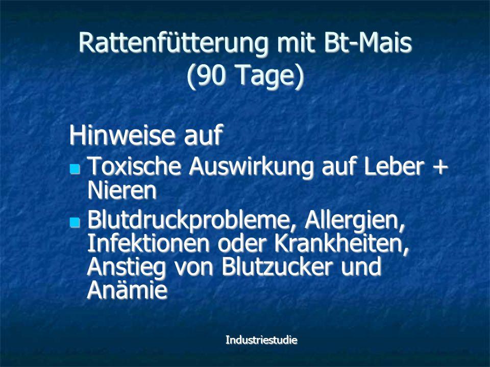 Rattenfütterung mit Bt-Mais (90 Tage) Hinweise auf Toxische Auswirkung auf Leber + Nieren Toxische Auswirkung auf Leber + Nieren Blutdruckprobleme, Al