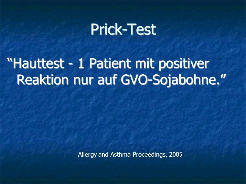 Prick-Test Hauttest - 1 Patient mit positiver Reaktion nur auf GVO-Sojabohne. Allergy and Asthma Proceedings, 2005