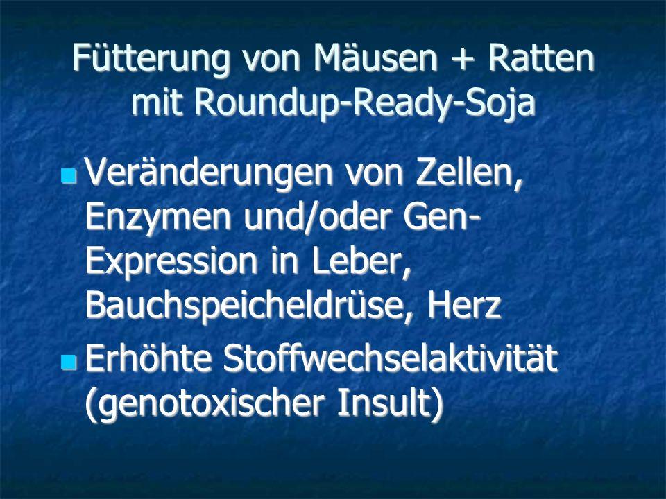 Fütterung von Mäusen + Ratten mit Roundup-Ready-Soja Veränderungen von Zellen, Enzymen und/oder Gen- Expression in Leber, Bauchspeicheldrüse, Herz Ver